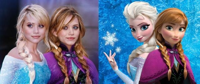 Olsen twins as Anna and Elsa